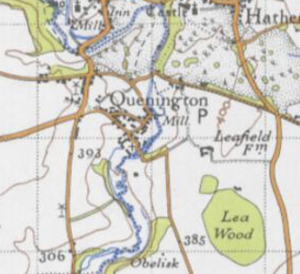 Quenington - This is an excerpt of an historical map in which Quenington can be seen.