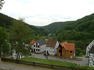 Hagen Open-air Museum - The Mäckingerbach valley seen from the upper part of the museum