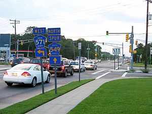 County Route 571 (New Jersey) - Westbound CR 571 at split with CR 549 Spur in Toms River.
