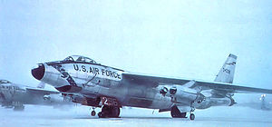 Alaskan Air Command - Boeing RB-47H-1-BW Stratojet Serial 53-2496 on the snowy Eielson flightline. This would be the last B-47 in active USAF service, and is now preserved at the Air Force Armament Museum at Eglin AFB, Florida.