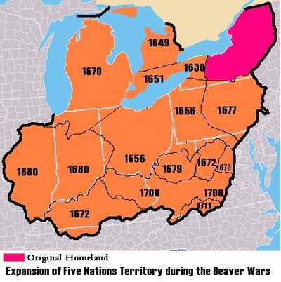 Map of Iroquois expansion during Beaver Wars 1638–1711. Through the lucrative fur trade, the Iroquois gained European weapons, giving them an advantage against tribes in the Great Lakes region, whose lands they took over.