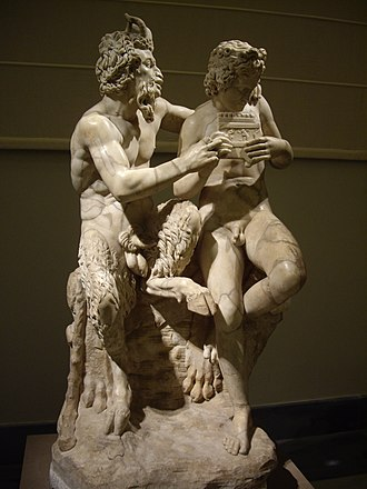 Faunus - Faunus and Daphnis practising the Pan flute (Roman copy of Greek original).