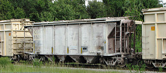 Covered hopper - This covered hopper car originally was built in the 1950s for the Atlantic Coast Line Railroad. After the 1967 SCL merger, these cars were fitted with rotary couplers and used in Bone Valley phosphate service.