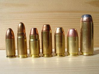 .357 SIG - From left to right: 9mm, 7.62×25mm Tokarev, .357 SIG, 10mm Auto, .40 S&W, .45 GAP, .50 AE.