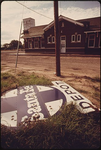 Halstead, Kansas - Abandoned Santa Fe depot sign in Halstead, 1974. Photo by Charles O'Rear.