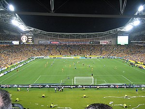 Australia national soccer team - Australia playing Uruguay at Stadium Australia to determine the last qualifying spots for the 2006 World Cup.