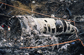 1995 Alaska Boeing E-3 Sentry accident - One of the engines in the debris field.