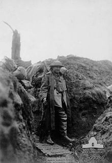 A soldier carrying a rifle standing in a trench