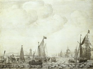 A Kaag and a Galjoot Close to the Shore with Witte de With in the 'Brederode' Leaving the Vlie, 9 June 1645