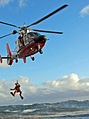 A U.S. Coast Guard MH-65 Dolphin helicopter hoists one of three commercial fishermen after their 33-foot vessel became disabled and began drifting close to the rocks off of the westernmost point of San Miguel 111218-G-ZZ999-003.jpg