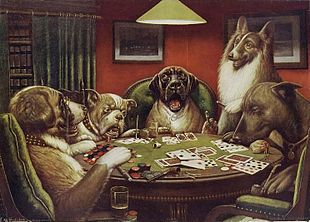 Who painted the famous dogs playing poker notice jeux poker