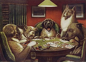 Dogs Playing Poker - A Waterloo, 1906