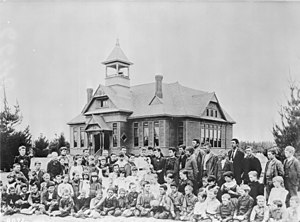 North Hollywood, Los Angeles - Lankershim School, located near what is now the intersection of Vineland and Riverside, and the first school in the San Fernando Valley, c.1889