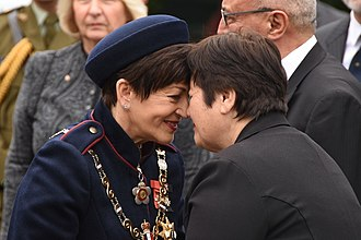 Pōwhiri - Governor-General Dame Patsy Reddy exchanges a hongi with Kuia Dr Hiria Hape during a pōwhiri at her swearing-in ceremony
