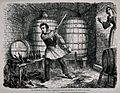 A man destroys his entire wine stock to the horror of his wi Wellcome V0019431.jpg