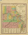 """A new map of Missouri, with its roads and distances. (Version with county areas hand colored in yellow, green, pink and orange. Pencil notation """"2d copy"""" in upper right corner - ).jpg"""