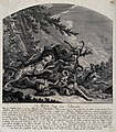 A pack of dogs has tracked down a wild boar which in turn su Wellcome V0021079.jpg