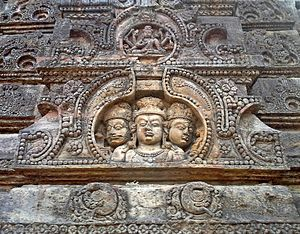 Mukhalingam - Image: A relief of Trimurti on a dome at Sri Mukhalingam temple complex