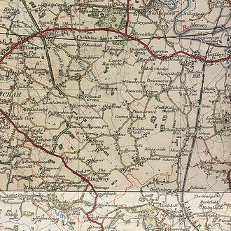 Manchester Airport - Circa 1925 map of the area where Manchester Airport and Wythenshawe now are