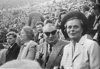 Olympic symbols - The composer of the 1952 Olympic Fanfare, Aarre Merikanto, at Helsinki Olympic Stadium during the games.