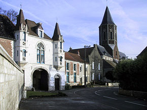 Abbey gateway and church, Ham-en-Artois, France.jpg