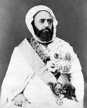 Emir Abdelkader, Algerian leader insurgent against French colonial rule, 1865 Abd al-Qadir.jpg