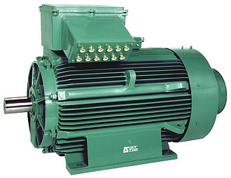 AC motor - An industrial type of AC motor with electrical terminal box at the top and output rotating shaft on the left. Such motors are widely used for pumps, blowers, conveyors and other industrial machinery.