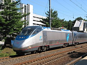 L'Acela Express power car 2000 presso la stazione di BWI Airport (Aeroporto internazionale di Washington-Baltimora