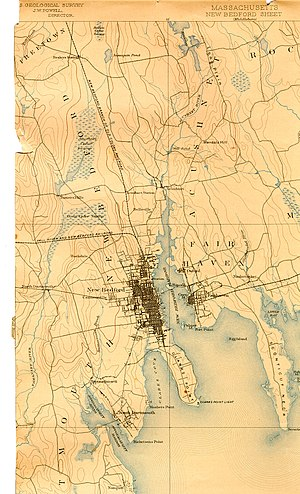 Acushnet River - Acushnet River (lower section) from an 1893 survey