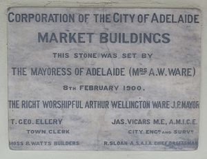 Adelaide Central Market - Photograph of the foundation stone for the Adelaide Central Market Buildings set by Mayoress Rosa Ware and Mayor Arthur Ware on 8 February 1900.  This stone is currently located at the Grote Street entrance to the markets.