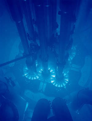 Low-carbon power - Blue Cherenkov light being produced near the core of the Fission powered Advanced Test Reactor