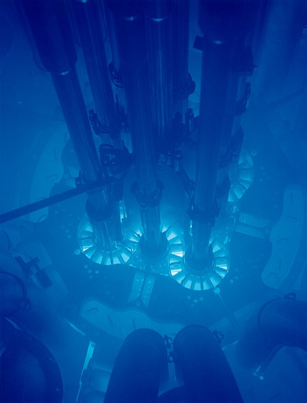 Cherenkov radiation glowing in the core of the Advanced Test Reactor. Advanced Test Reactor.jpg