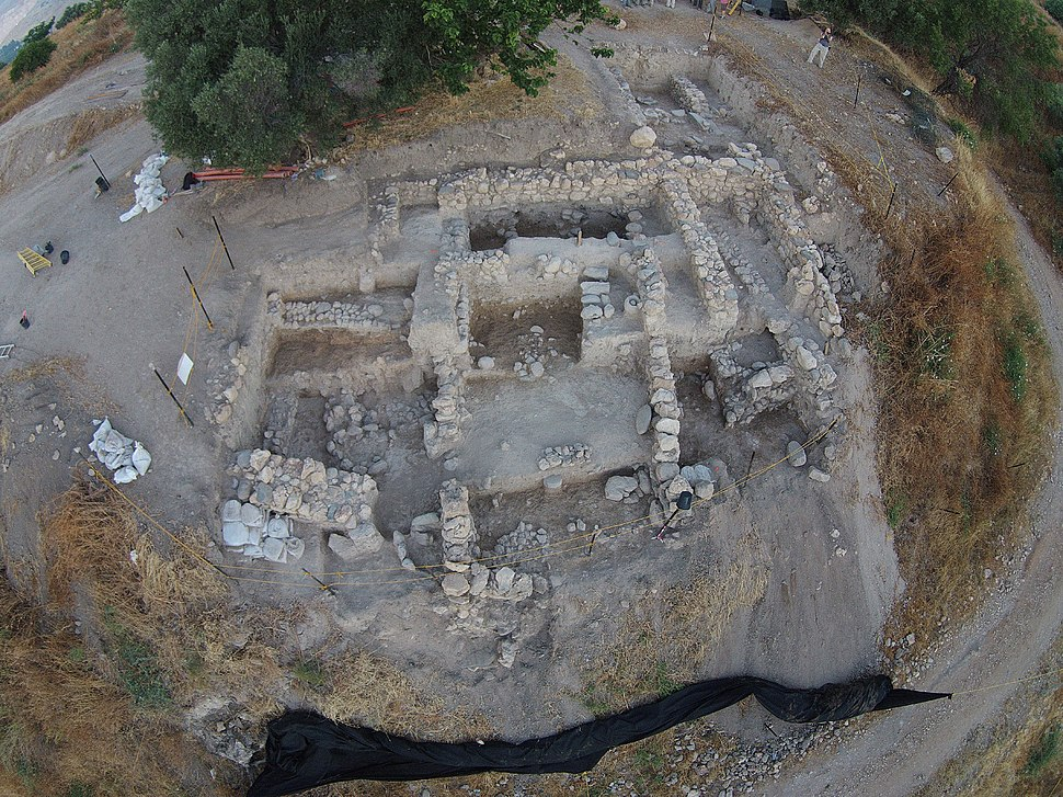 Aerial view of Area A, end of 2015 excavation season, looking west