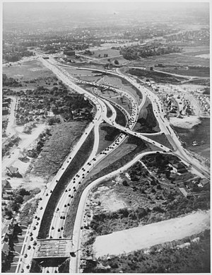 Main Street (Queens) - Main Street in foreground, interchange under construction around 1946.