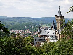 View over Wernigerode with its castle