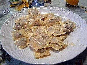 Agnolotti - Typical dish of homemade agnolotti Piemontesi alla moda di Asti.
