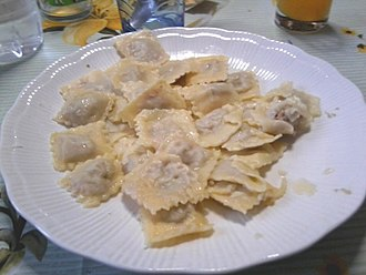 Agnolotti - Typical dish of homemade agnolotti Piemontesi alla moda di Asti.