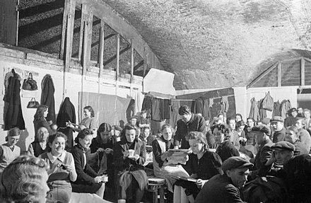 Air-raid shelter in London, 1940 Air Raid Shelter Under the Railway Arches, South East London, England, 1940 D1587.jpg
