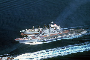 Boris Chilikin-class fleet oiler - An aerial port bow view of the Soviet aircraft carrier Minsk and the Boris Chilikin-class oiler during an underway replenishment.