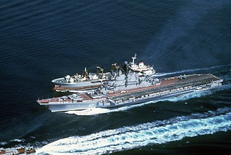 Boris Chilikin-class fleet oiler - An aerial port bow view of the Soviet aircraft carrier Minsk and the Boris Chilikin-class oiler during an underway replenishment.