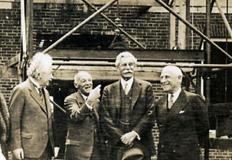 Institute for Advanced Study - left to right: Albert Einstein, Abraham Flexner, John R. Hardin, and Herbert Maass at the IAS on May 22, 1939