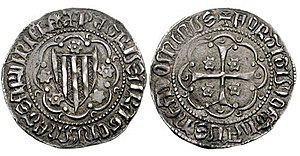 Peter IV of Aragon - A Sardinian ducat (or principat), also called an Alfonsino, of Peter IV's reign. Note the four bars representing the Crown of Aragon.