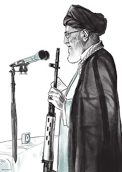 Ali Khamenei Holding a Gun During Friday Prayer.jpg
