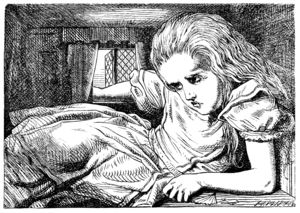 Illustration from Lewis Carroll's Alice's Adventures in Wonderland depicting the title character seated hunched over in a tiny room. Alice is positioned awkwardly with her weight supported partially by her left forearm, which rests on the floor and spans nearly half of the room's length. Her head is ducked beneath the low ceiling and her right arm reaches outside, resting on an open window's sill. The folds of Alice's dress occupy much of the remaining free space in the room.