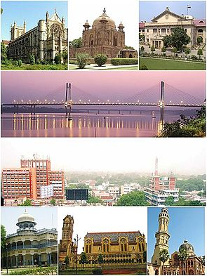 Clockwise from top left: All Saints Cathedral, Khusro Bagh, the Allahabad High Court, the New Yamuna Bridge near Sangam, skyline of Civil Lines, the University of Allahabad, Thornhill Mayne Memorial at Alfred Park and Anand Bhavan.