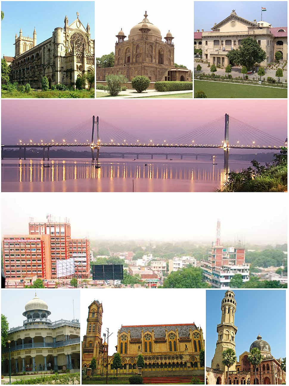 Clockwise from top left: All Saints Cathedral, Khusro Bagh, the Allahabad High Court, the New Yamuna Bridge near Sangam, the skyline of Civil Lines, the University of Allahabad, Thornhill Mayne Memorial at Alfred Park and Anand Bhavan.