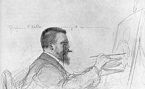Ferdinand Keller (painter) - Ferdinand Keller correcting a student's work. Sketch by his student Christian Wilhelm Allers