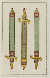 Aluette card deck - Grimaud - 1858-1890 - Three of Swords.jpg