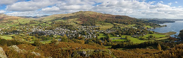 Ambleside and Waterhead in the Lake District, Cumbria, England, as viewed from Loughrigg.