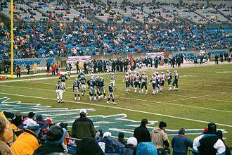 Super Bowl XXXVI - The Patriots on the road at Carolina on January 6, 2002